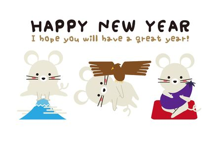 New Years Card 2020 Mouse New Years Card 1 Fuji 2 Hawk 3 Lions 3