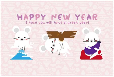 Mouse 1 Fuji 2 Hawk 3 Lion Pale Pink Background New Years Card Template