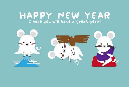 New Years card 2020 1 Fuji 2 Taka 3 Isogo New Years card blue Ilustração