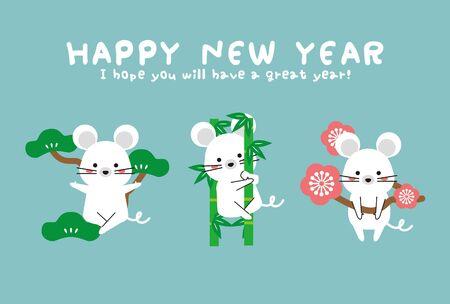 New Years Card 2020 Shochikuume New Years Card Blue Ilustração