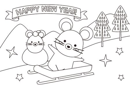New Years Card 2020 Snowy Mountain and Sled English