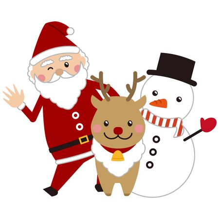Christmas Santa Claus, Reindeer and Snowman