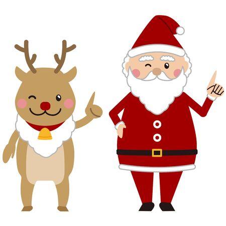 Christmas Santa and reindeer pointing Ilustração