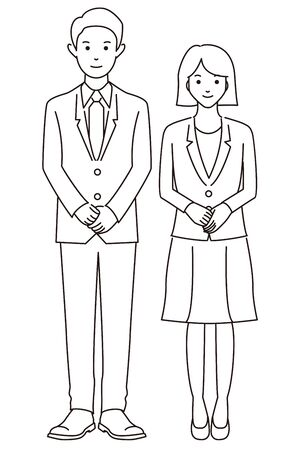 Man and woman in a young suit