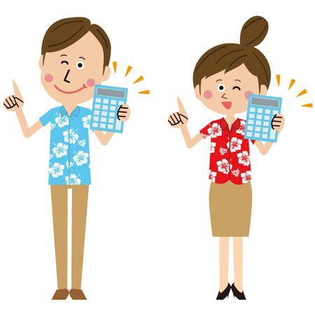 Pop travel agency men and women have calculators Illustration