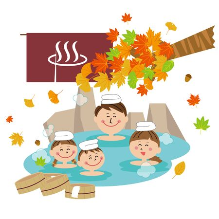 Pop Family Open-air Bath Autumn Leaves  イラスト・ベクター素材