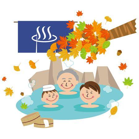 Pop 3 Generation Family Man Bath Open-air Bath Autumn Leaves