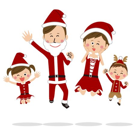 Jumping in A Pop Family Christmas Costume