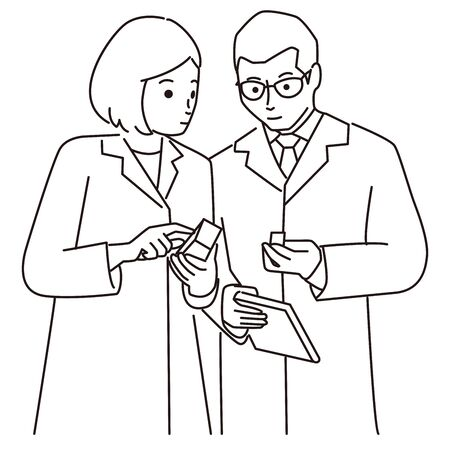 Men's and women in white, auxiliary explanation, line art