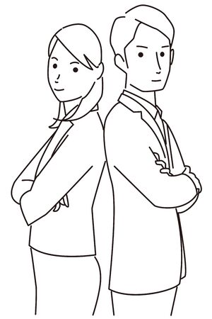 Men and Women Rivals Armfolded Line Drawings