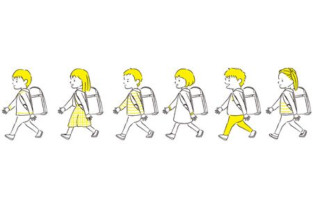Hand-painted 1color boy girl 6 people walk ingress up a randoseru