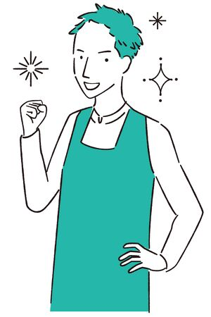 Man wearing hand-painted 1color apron Guts pose