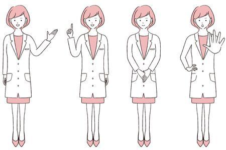 Hand-painted 1color Female Doctor Full Body 4 Poses Ilustración de vector