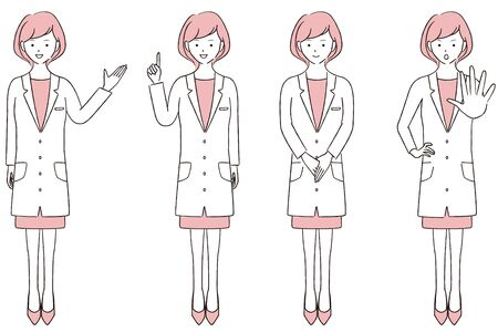 Hand-painted 1color Female Doctor Full Body 4 Poses