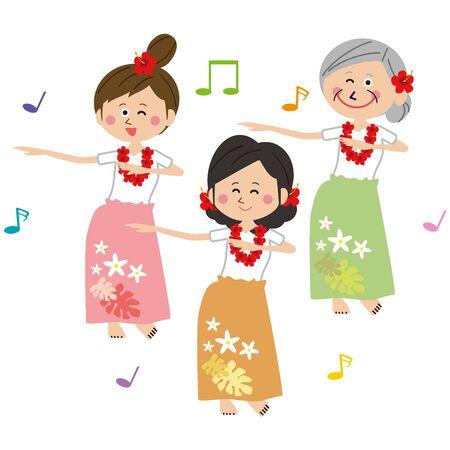 Pop active women dancing hula dance Illusztráció