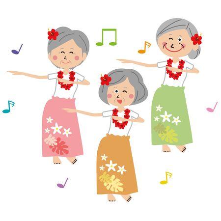 pop active senior women dancing hula dance