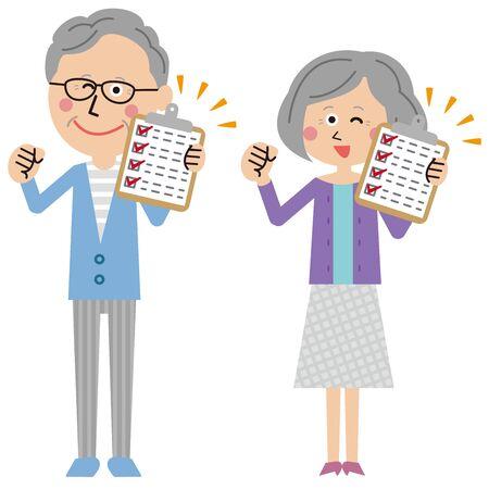pop senior men and women checklist Illusztráció