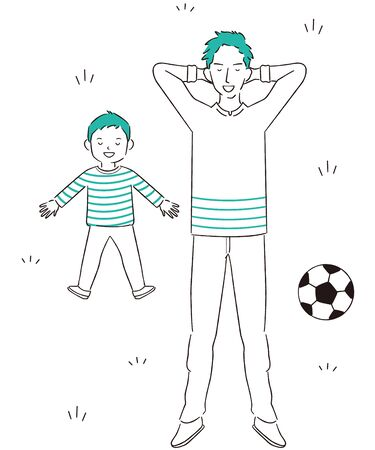 Hand-painted 1color Holiday Parent and Child Lying Down Soccer Break