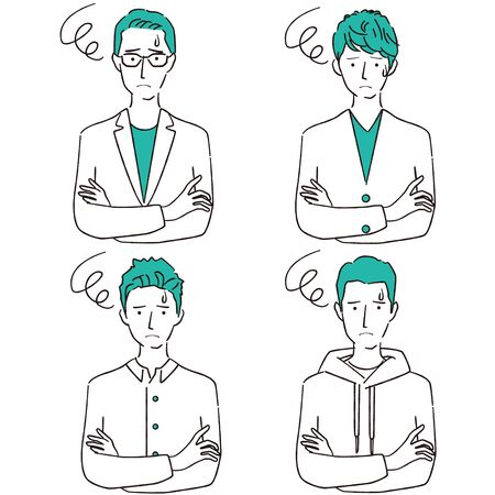 Hand-drawn 1color male troubled four people