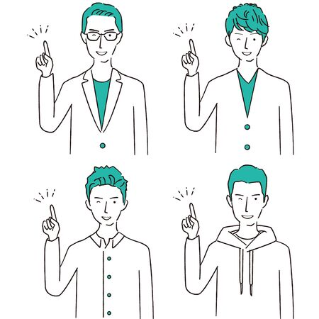 Hand-drawn 1color male 4 men pointing