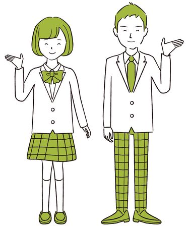 Hand-drawn 1color Men and women of active high school students blazer guide