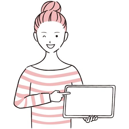 Hand-drawn 1color female casual woman showing and pointing tablets