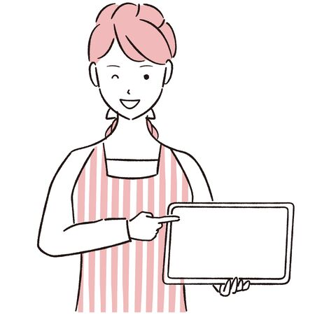 Hand-drawn 1color woman wearing an apron to show and point to the tablet