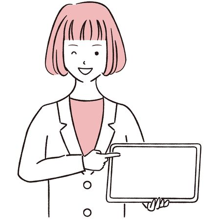 Hand-drawn 1color female businesswoman showing and pointing tablets