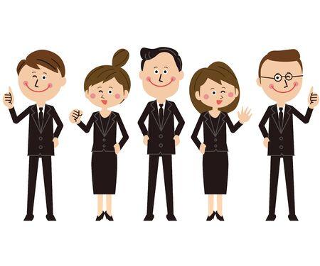 Men and women in pop black suits line up