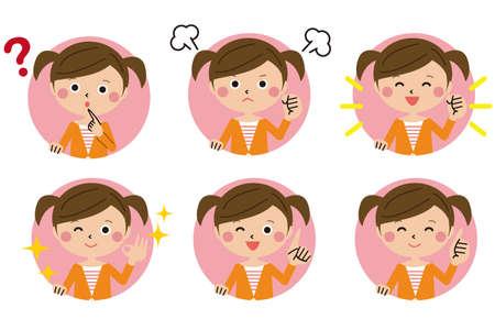 Pop Girl Background Mal 6 Pose Set Vektorové ilustrace