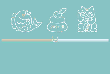 2021 New Year's card ties with three good luck things background light blue