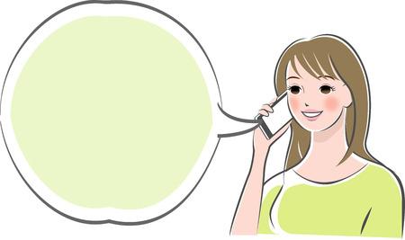 Femme faisant un appel téléphonique avec un smartphone