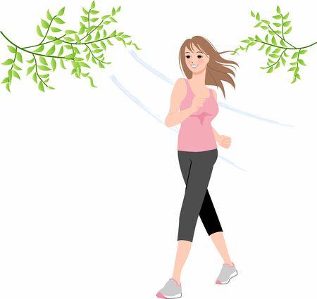 a woman walking 向量圖像