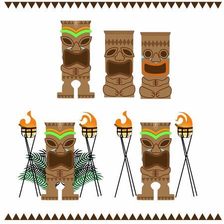 Statue of Tiki in Hawaii Stock Illustratie