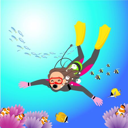 a woman diving in the southern sea  イラスト・ベクター素材