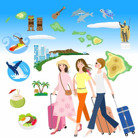 Hawaii travel destination landmarks and famous Vector Image