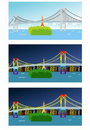 Tokyo Odaiba Rainbow Bridge Night and Day
