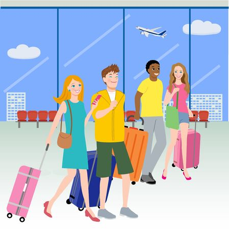 Foreign tourists walking at the airport