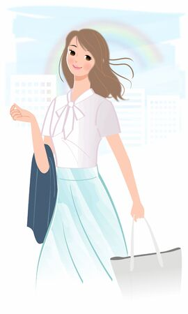 A fashionable woman walking in a dash Illustration