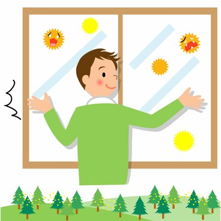 The man who closes the window Vector Illustratie