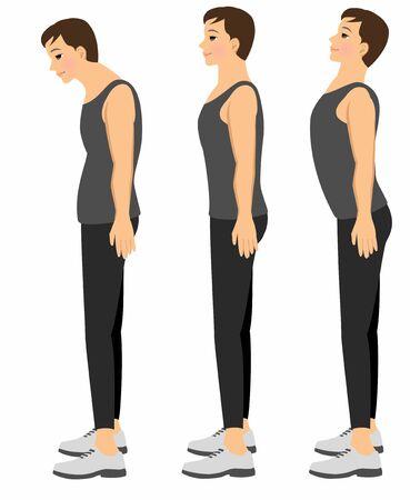 Men with good posture and bad posture