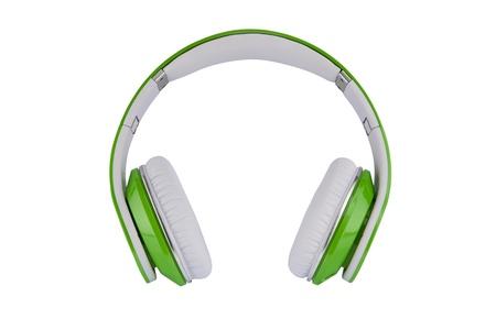 ホワイト グリーン ヘッドフォン ホワイト バック グラウンドで 写真素材
