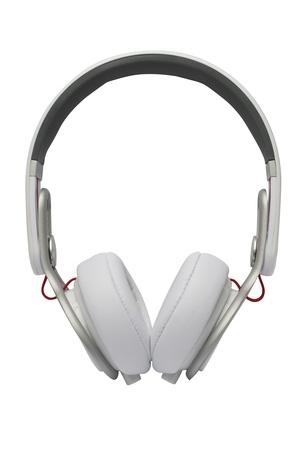 白いヘッドフォン ホワイト バック グラウンドの分離