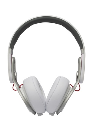 White headphones isolated on a white background  Banque d'images
