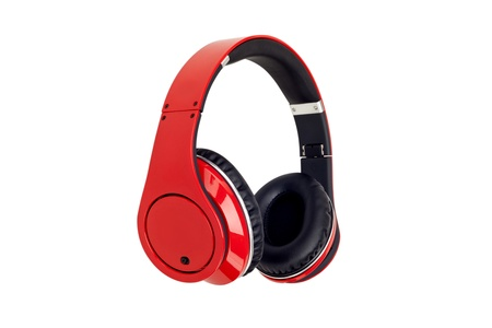 red headphones on the white background