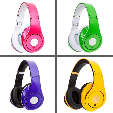 Collage of headphones different colors Stockfoto