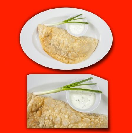 meat pie: empanada, meat pie on red