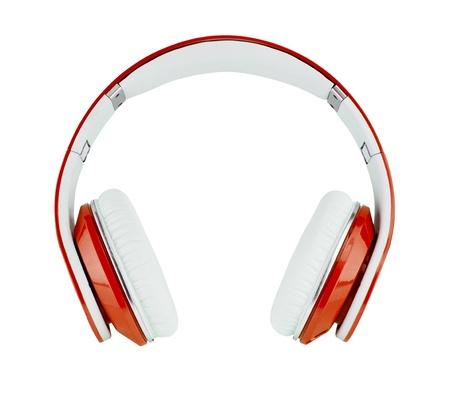 白い背景で隔離赤いヘッドフォン