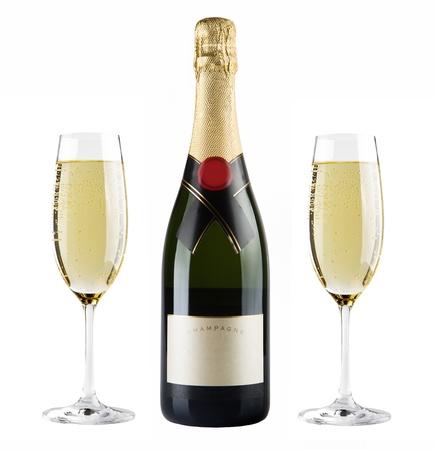 botella champagne: Botella de champagne y vidrio del champ�n Foto de archivo