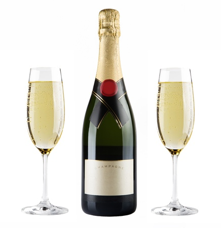 bouteille champagne: Une bouteille de champagne et un verre de champagne Banque d'images
